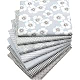 Hanjunzhao Quilting Fabric,Grey Fat Quarters Fabric Bundles,100% Cotton Fabric for Sewing Crafting,Print Floral Striped…