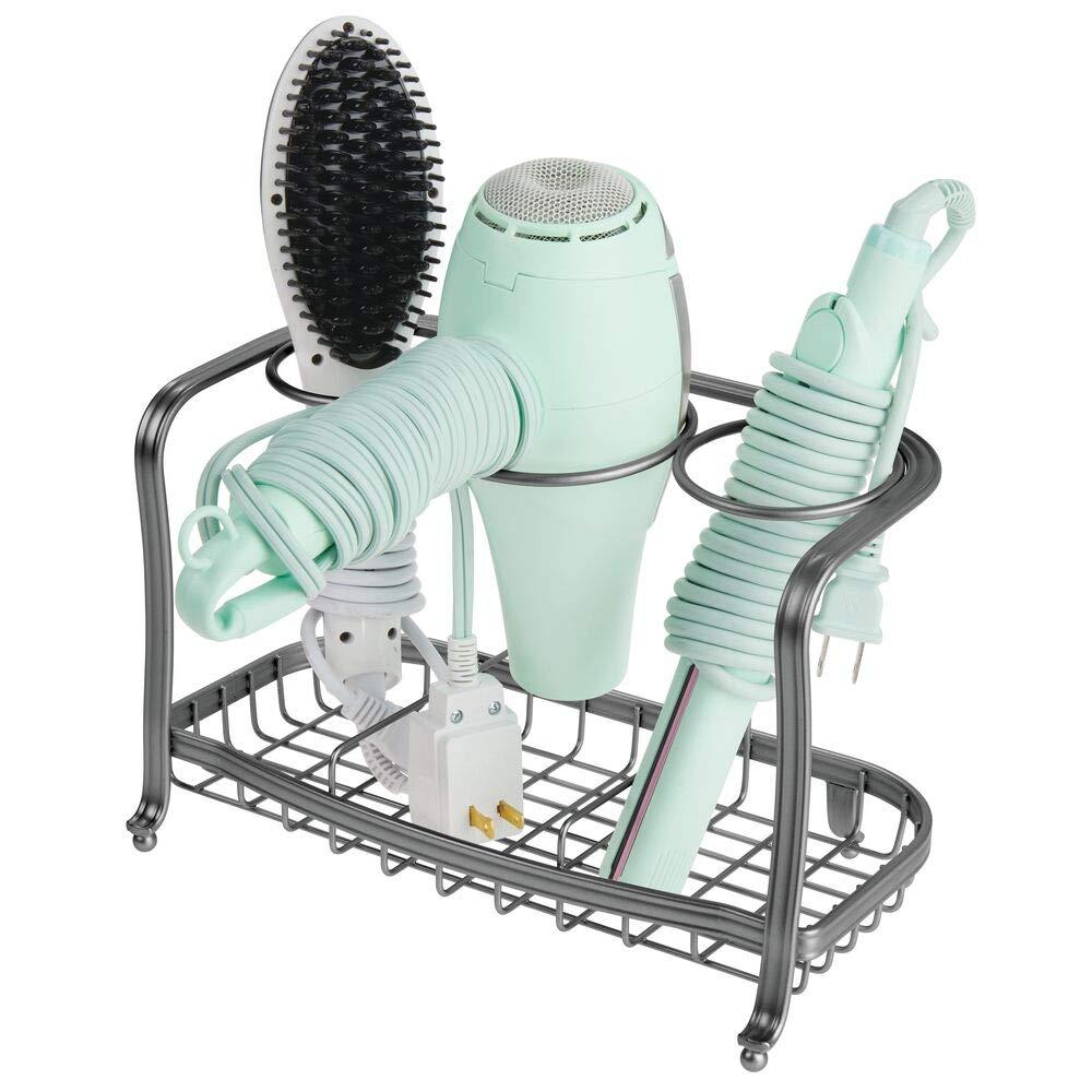 Cesta de Rejilla de Metal para organizar el ba/ño Gris cepillos y Otros Productos de peluquer/ía secador Soporte para Plancha de Pelo mDesign Soporte para secador de Pelo de pie y sin Taladro