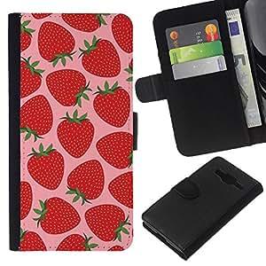 Planetar® Modelo colorido cuero carpeta tirón caso cubierta piel Holster Funda protección Samsung Galaxy Core Prime ( Strawberry Summer Sun Pink Berries )