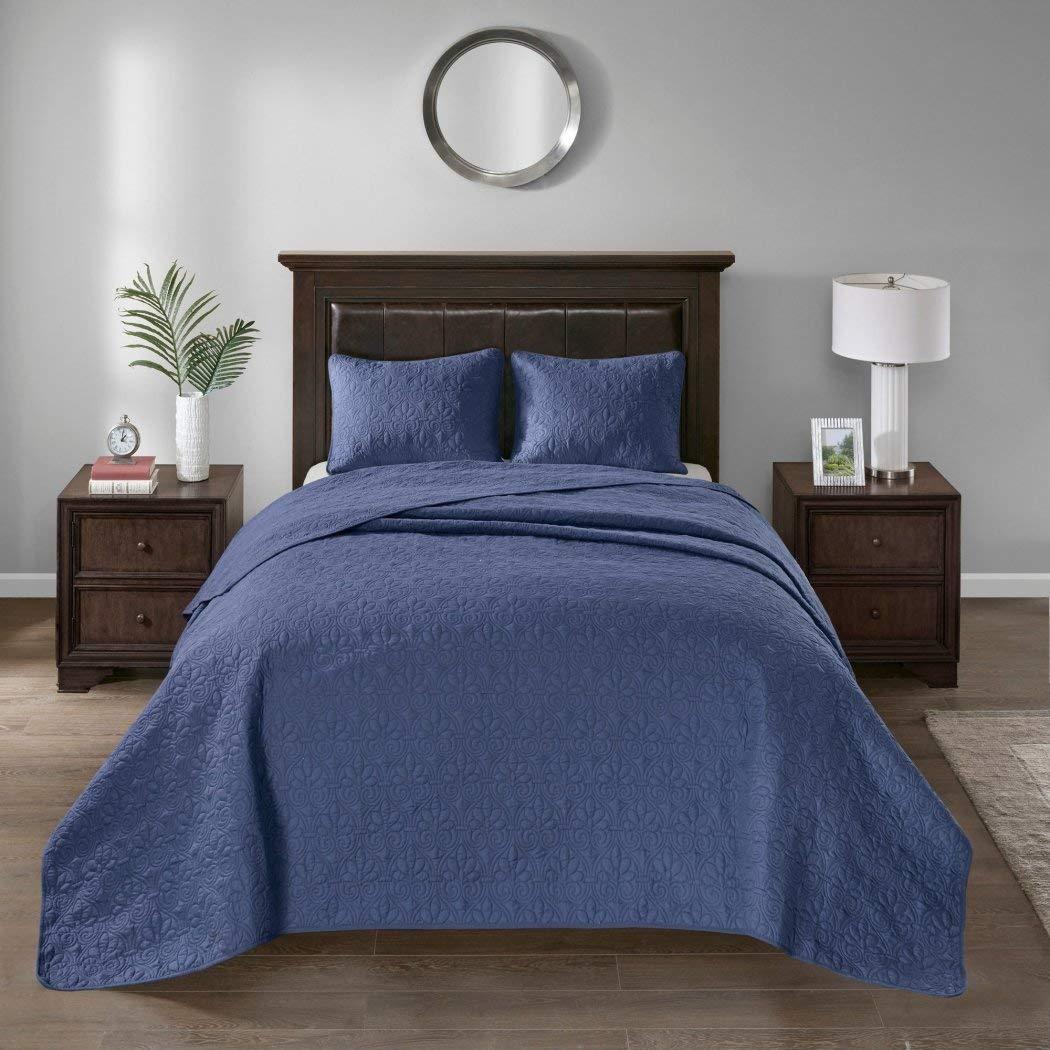 3個入りオーバーサイズブルーネイビーキングベッドスプレッド床セット、スタイリッシュクラシックステッチ、Large Extra Long Wide寝具、寝具Drops Overエッジキングベッド、120 x 118、ポリエステル B07343R24Z