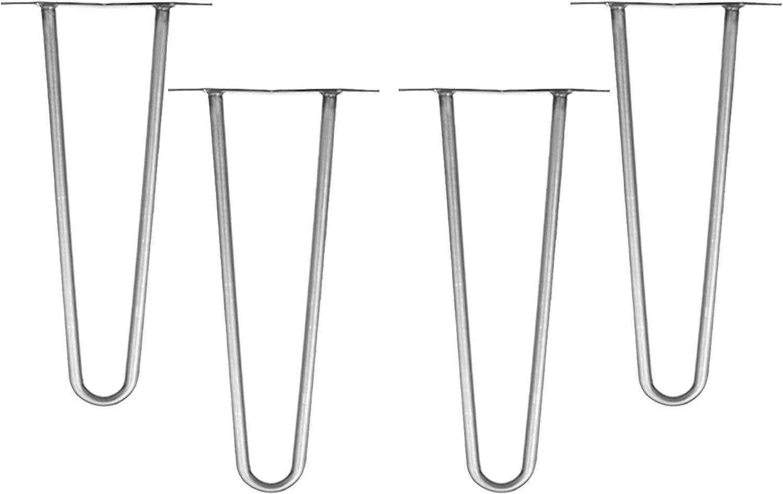 Stahl 2 Streben H/öhe 86 cm Bodenschoner Melko 4 St/ück Hairpin Legs Haarnadel Tischbeine aus 12 mm Stahl Tischfu/ß inkl