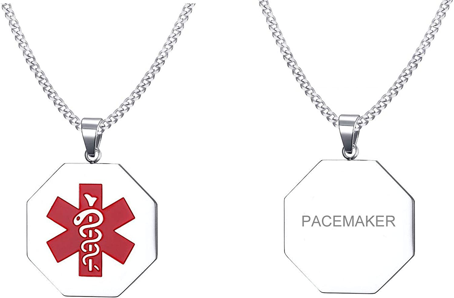 VNOX Customize Stainless Steel Medical Alert ID Hexagonal Pendant Necklace for Men Women,Free Chain 24""