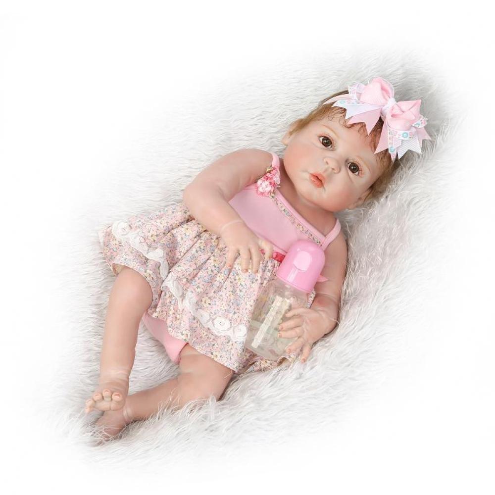 GUOHONG-CX Simulations Wiedergeburt Puppen Silikon Nettes Baby Baby Baby Anziehbares Wasser Spielt Kreatives Geschenk 57CM der Kinder ca4a58