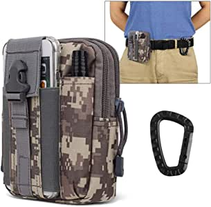"""AIRSSON Universal Tactical Molle Pouch EDC/EMT Gear Tool Gadget Belt Outdoor Waist Bag Pocket Organizer with Cell Phone Holster for iPhone X Samsung S8 & Less Than 6.2"""" Smartphone+Carabiner (ACU)"""