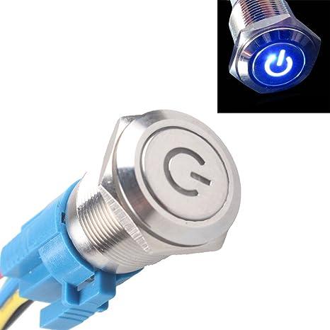 Mintice/™ 12V 16mm simbolo luce blu LED potere metallo premi il bottone interruttore a levetta Presa di corrente auto