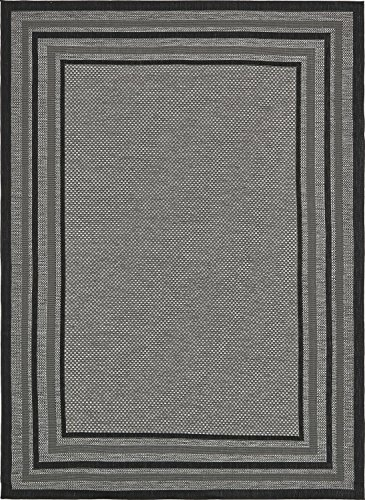 Cheap Unique Loom Outdoor Collection Solid Border Casual Indoor and Outdoor Transitional Gray Area Rug (8′ x 11′)