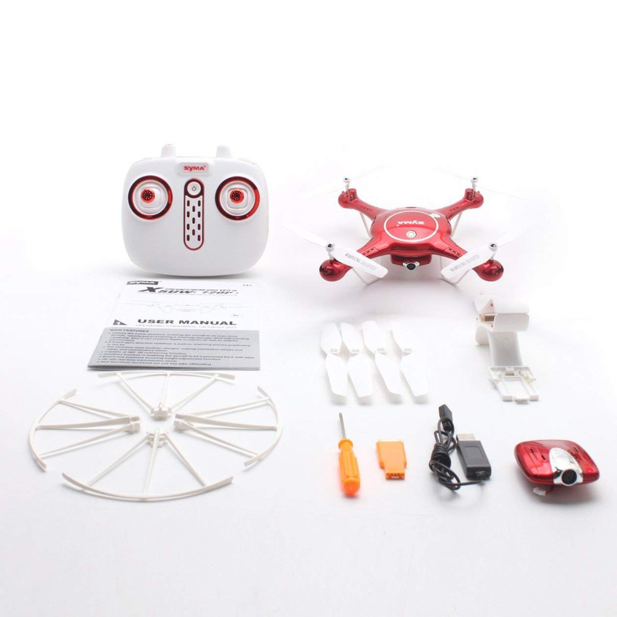 RC Drone Quadcopter, Wi-Fi-720P Kamera RC Drone Höhe Halten Headless Modus 3D-Flip-Flugplan RC Quadcopter mit 4 GB-Karte, Rot
