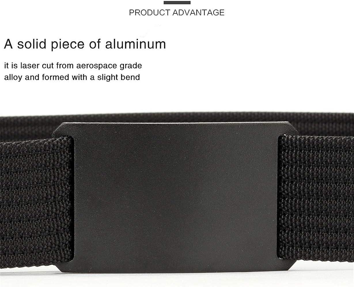 Men Long Belt Black Aluminum Buckle Knitted Belt Canvas Tactical Belt