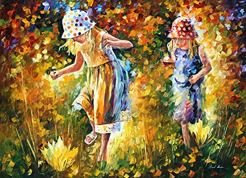 Sister Signed - Two Sisters — ARTISTIC SIGNED PRINT Figures Modern Impressionism Wall Art On Canvas By Leonid Afremov