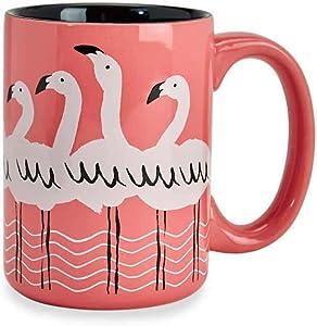 Wild Eye Designs Tropical Flamingo Pink 16 Ounce Glazed Ceramic Midnight Black Interior Coffee Mug in Gift Box