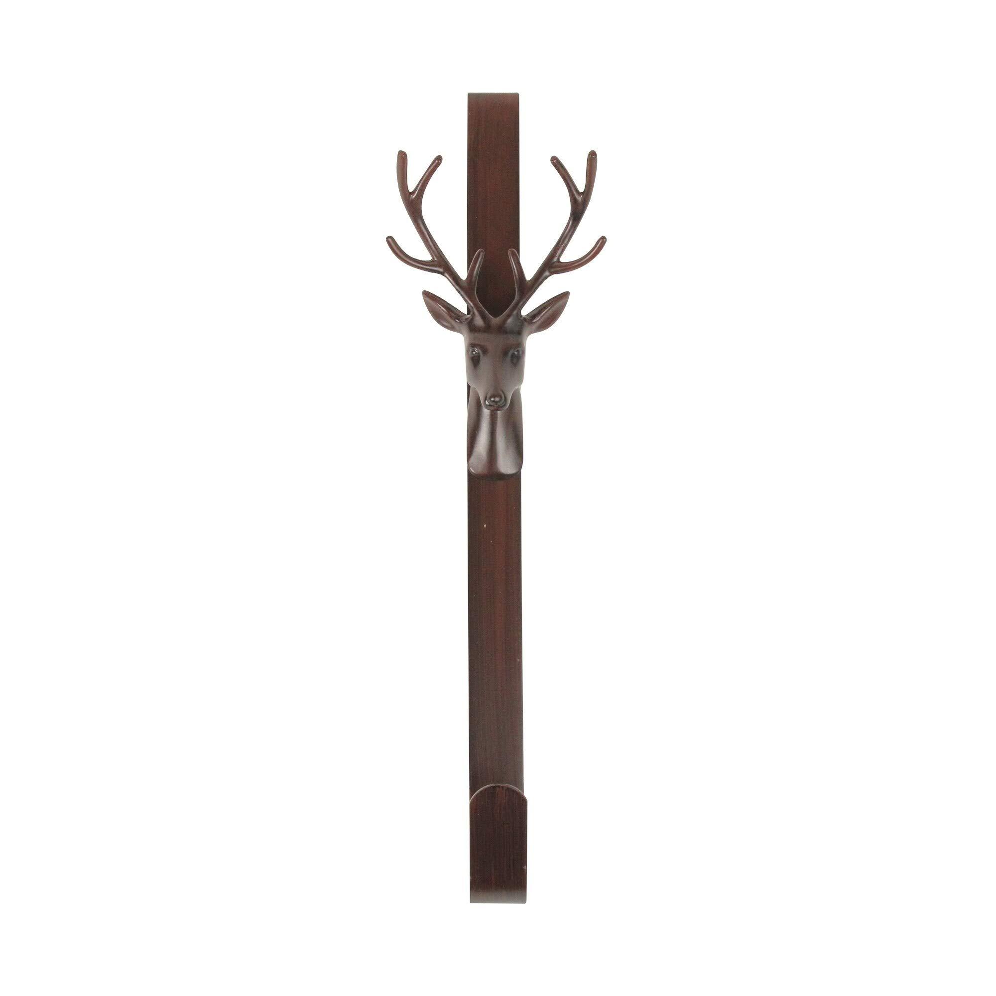 15.25'' Rustic Bronze Deer Christmas Wreath Hanger Multi Color Metal by Unknown