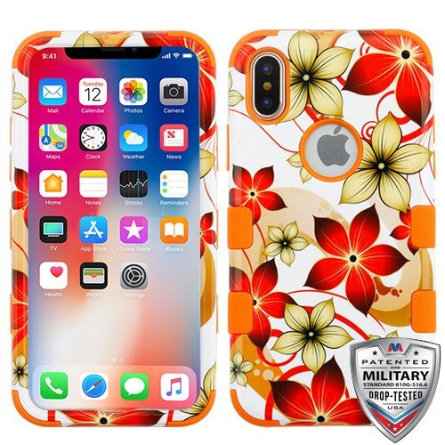 iPhone X/XS Case, MyBat Tuff Hibiscus Flower Romance Dual Layer [Shock Absorbing] Protection Hybrid PC/TPU Rubber Case Cover for Apple iPhone X/XS, Orange/White