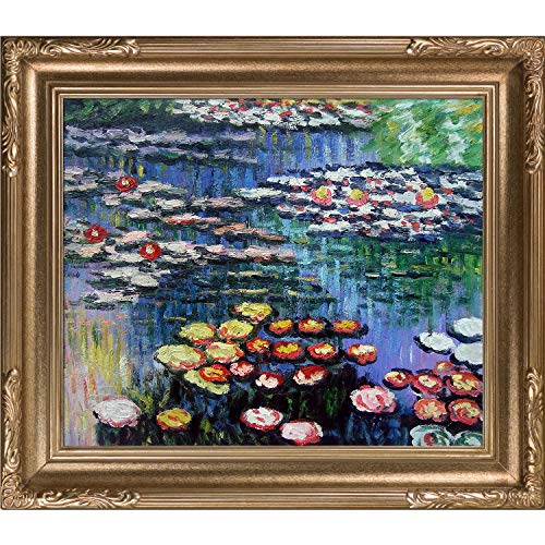 Monet Water Lilies Oil Painting - overstockArt Monet Water Pink Lilies Oil Painting with Florentine Dark Champagne Frame, Dark Champagne Finish