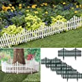 "Archway (6 Pack) Garden 24"" Plastic Picket Fence Borders Outdoor Herbs Vegetables Edging 12ft"