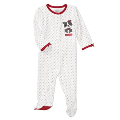 Carters Infant Girls My First Valentine Sleeper Heart Puppy Dog Baby Pajamas  NB