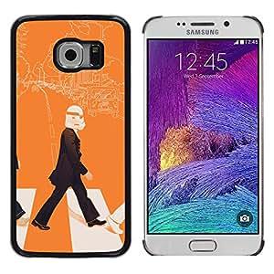 Samsung Galaxy S6 EDGE (NOT S6) - Metal de aluminio y de plástico duro Caja del teléfono - Negro - Lennon Storm Trooper - Pop Art