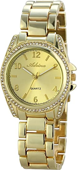 Reloj mujer oro Metal Brillantes Números Arábigos Reloj de pulsera