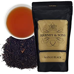 Harney & Sons Mango Black Tea, with fruity Mango flavor & Mango Pieces, Loose 16 oz