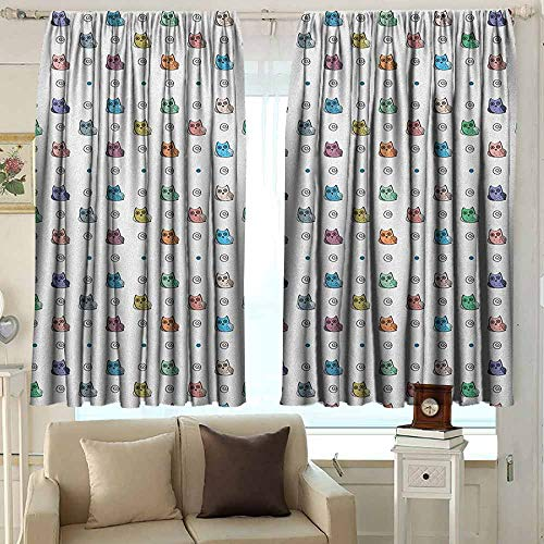 Doorway Curtain Kids Owl Motif with Spiral Circles and Big Eyes Night Animal Nursery Baby Playroom Concept Great for Living Rooms & Bedrooms 55 W x 63 L Inches Multicolor