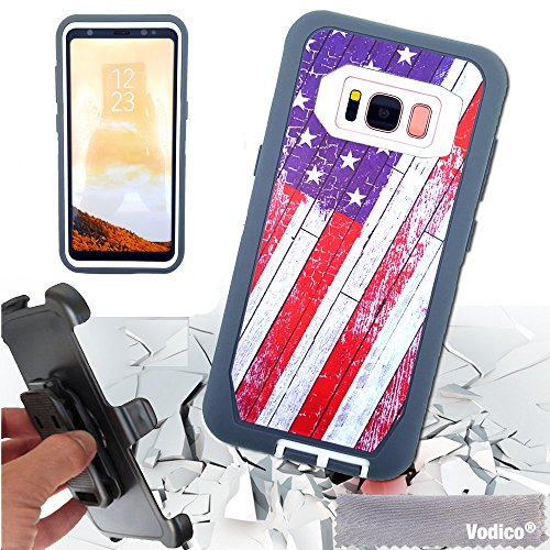 - Samsung Galaxy S8 case,Vodico 3 in 1 Heavy Duty Shockproof Hybrid High Impact Defender Hard TPU Bumper Scratch-Resistant Cover with Belt Clip and Kickstand for Samsung Galaxy S8 (Flag)