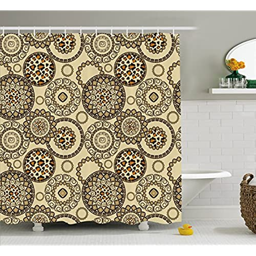 Animal Print Shower Curtain Set By Ambesonne, African Safari Patterns  Cheetah Skin Print Wild Theme Neutral Color Decoration, Fabric Bathroom  Decor With ...