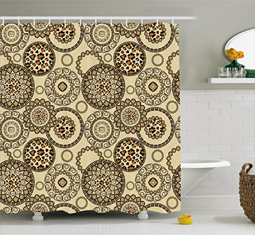 Ambesonne Animal Print Shower Curtain, African Safari Pattern with Cheetah Skin Print Animal Theme in Neutral Colors, Fabric Bathroom Decor Set with Hooks, 75 Inches Long, Brown Beige by Ambesonne