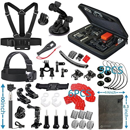 VANWALK Basic Common Outdoor Sports Kit for GoPro Hero 5 / Session 5/4/3/2/1, Accessory Bundle Set for AKASO,...