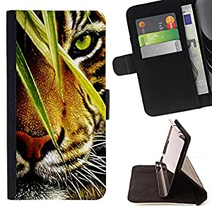 DEVIL CASE - FOR LG G2 D800 - Tiger Jungle Forest Rainforest Eye Feline - Style PU Leather Case Wallet Flip Stand Flap Closure Cover