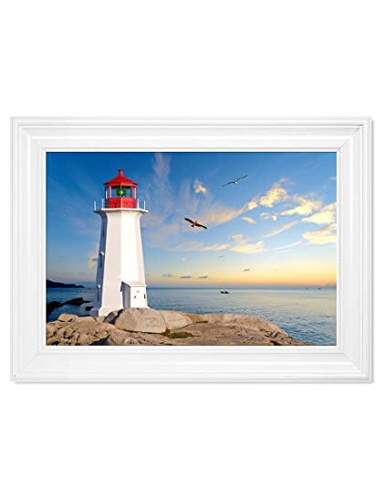 "bf45e621ef288 DECORARTS - ""Lighthouse - Personalized Canvas Print Artwork(Framed),  Includes Names"