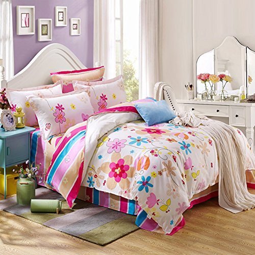 TOP SHOP Home FTSUCQ Dancing Flower Linen Bed Sheets Quilt Covers Bed Mattress Bedding Four-PCS Sets,size-3 (Top Kidsline Sheet)