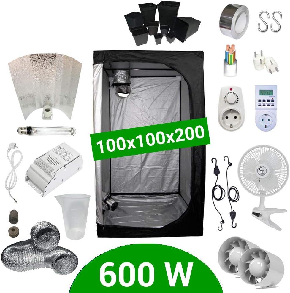 Supacrop Kit de Cultivo Interior 600W SHP Stuko - Armario 100x100x200 - Balastro ETI 1