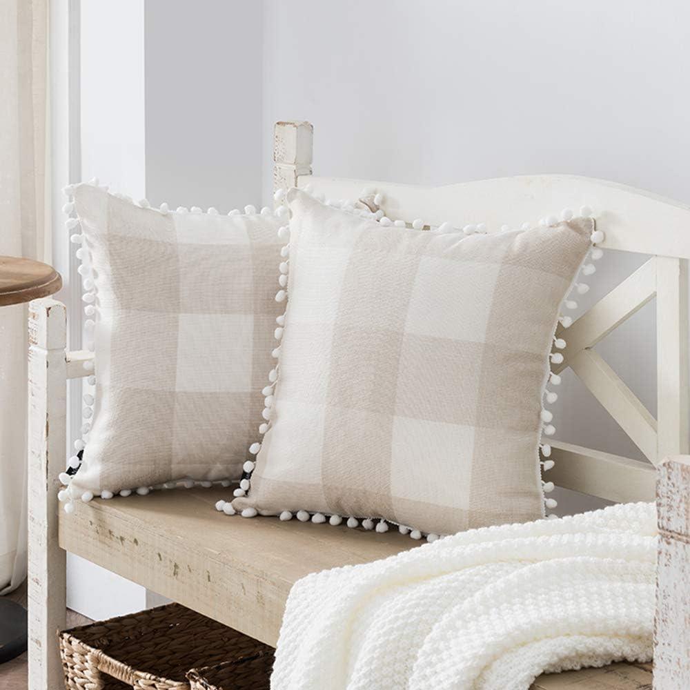 Nestinco Set of 2 Buffalo Check Pillow Covers Beige and White Plaid Pom Pom Decorative Throw Pillow Covers 18 x 18 for Farmhouse Home Decor