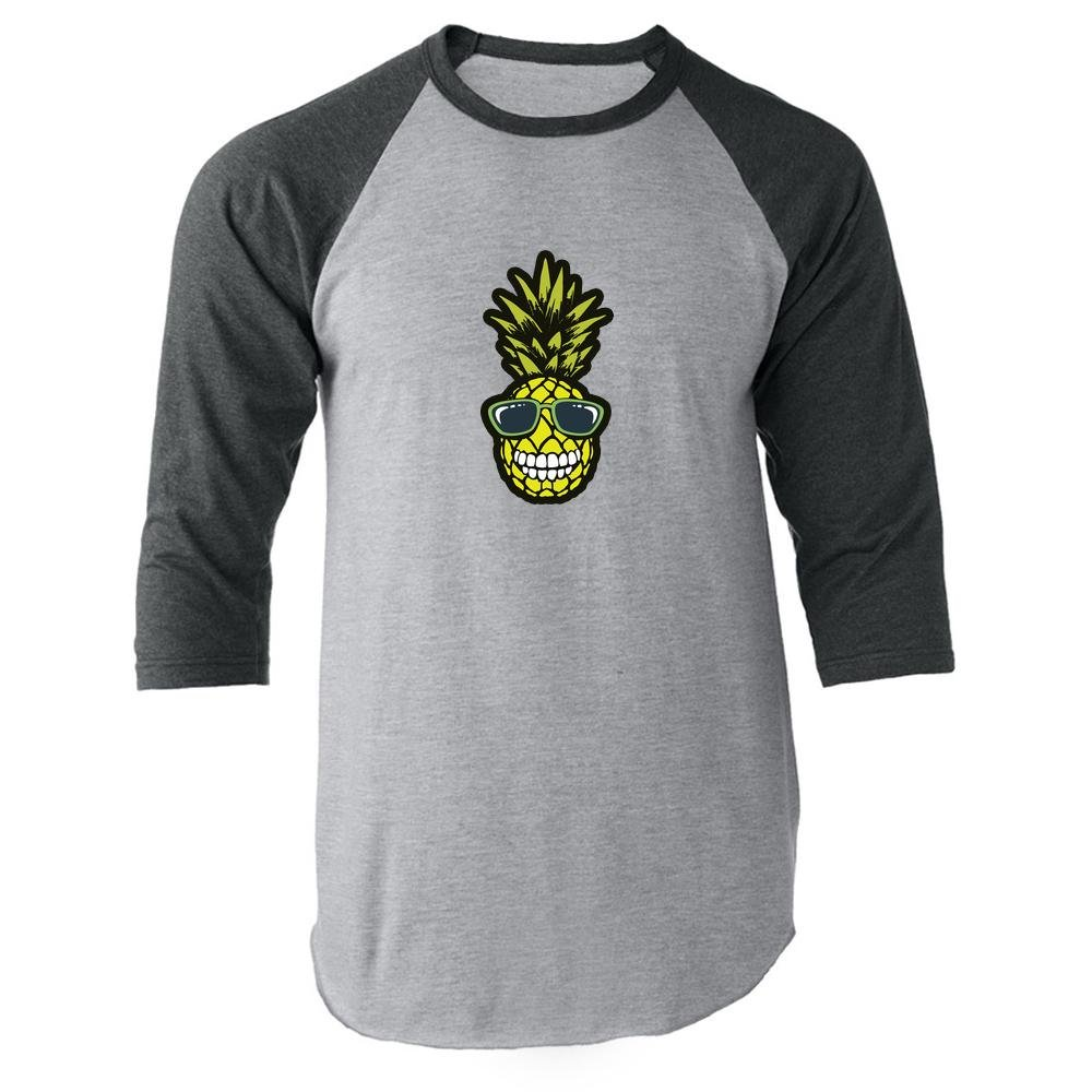 Pop Threads Smiling Pineapple in Sunglasses Gray 3XL Raglan Baseball Tee