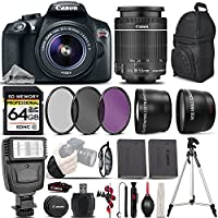 Canon EOS Rebel T6 DSLR Camera + Canon EF-S 18-55mm f/3.5-5.6 IS II Lens + 0.43X Wide Angle Lens + 2.2x Telephoto HD Lens + 3 Piece Filter - All Original Accessories Included - International Version