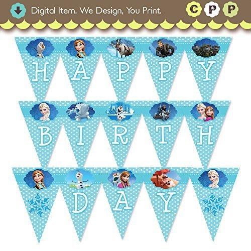 Frozen Birthday Banner Printable Frozen Banner Party By: Disney's Frozen Happy Birthday Banner Blue Dots Printable