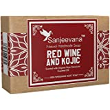 Sanjeevana Red wine and Kojic Hand Made Soap for Skin Whitening.