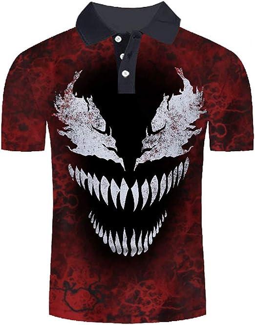 W&TT Camisa de Polo para Hombre Venom Camisas de Solapa de Manga ...