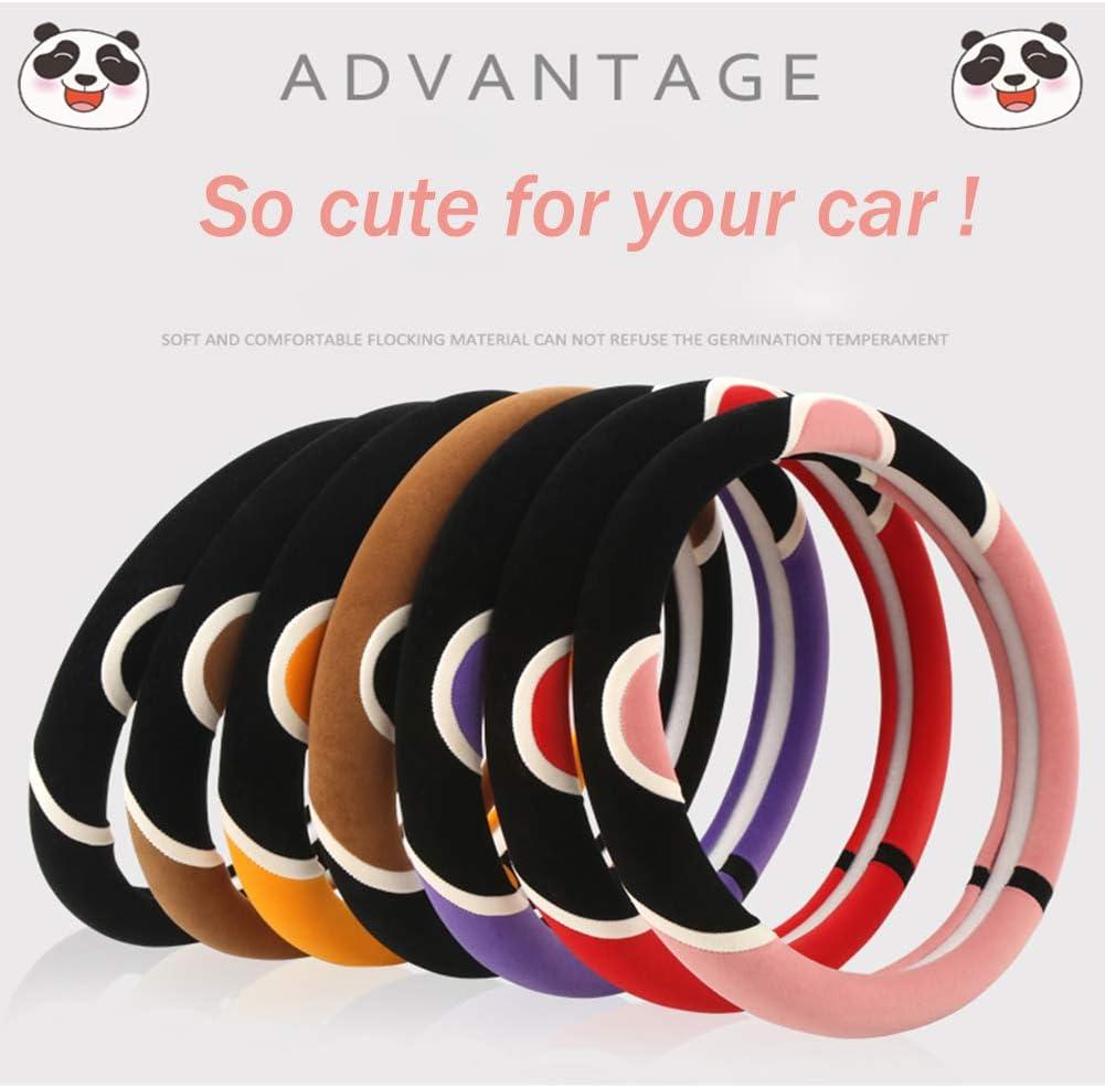 Black OHHMNKK Steering Wheel Cover for Car Plush 15 inch Cute Wheel Cover for Women Men