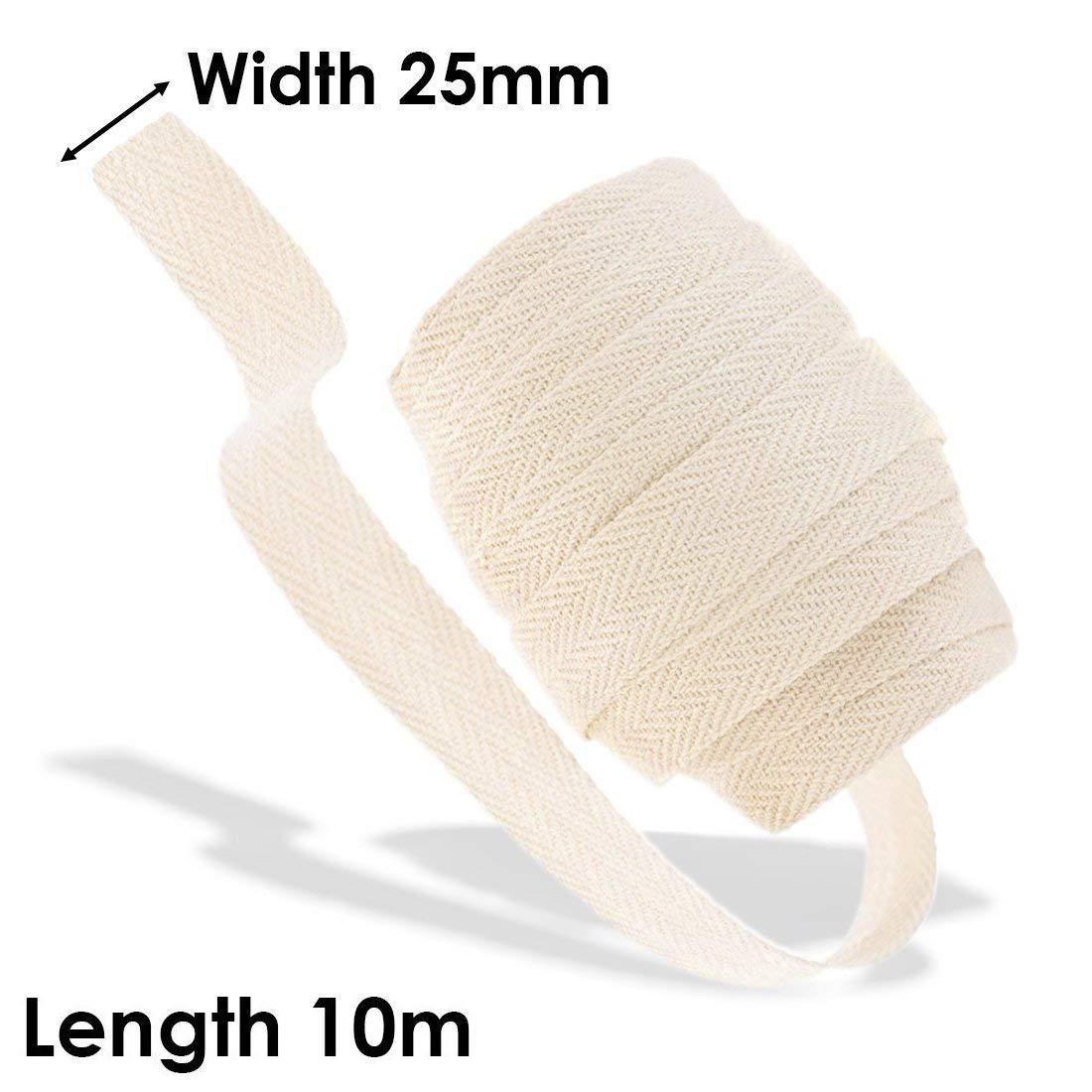 Bunting Binding Apron Webbing Sew NATURAL CREAM 25mm Cotton Herringbone Tape
