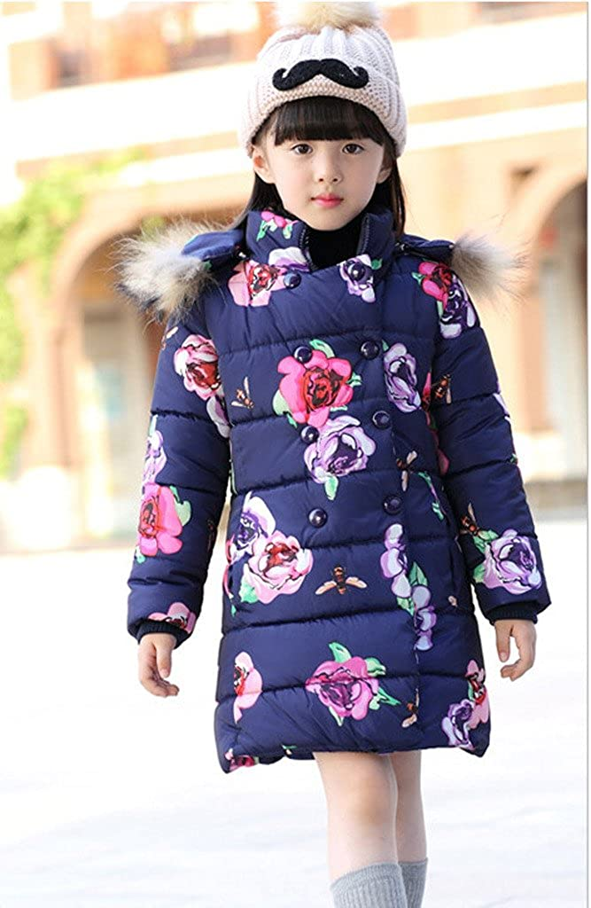 Big Girl Floral Jacket Thickened Warm Outwears Winter Coat Snowsuit Clothes