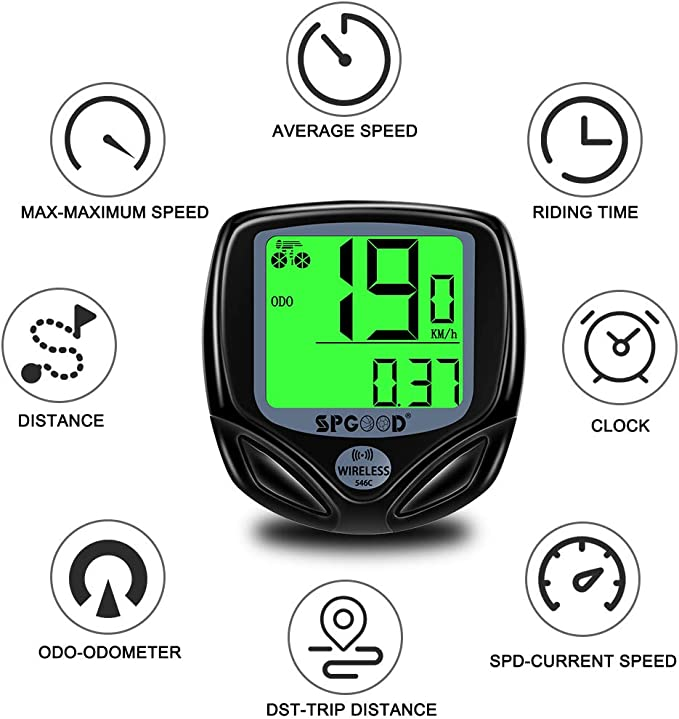 SPGOOD Bike computer wireless 16 functions waterproof LCD speed bike speedometer