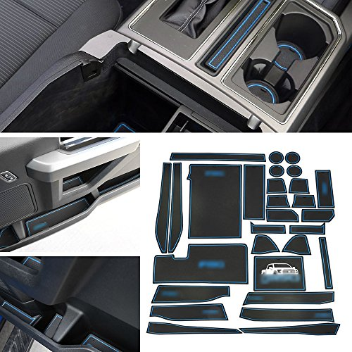 Anti-Dust Interior Cup Mats Door Gate Slot Pad Storage Mats for Ford F150 2015 2016 2017 2018 (29PCS/SET, Blue)
