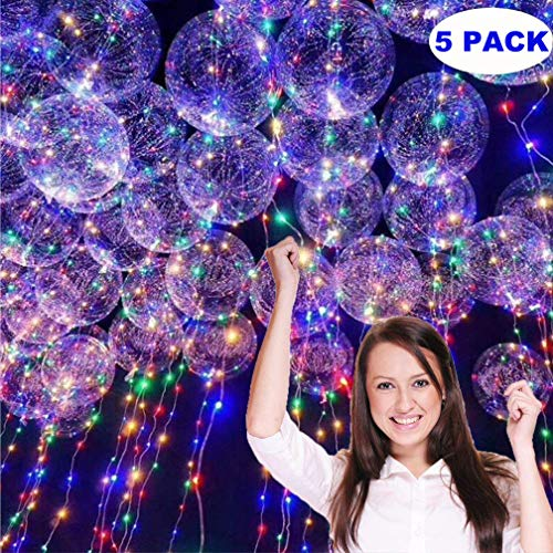 KASQA LED Helium Balloons 5 Pack 18inch Clear Latex Balloons with Copper Wire Led Lights Party Decorative Creative Multicolor Balloons for Birthday Wedding Christmas Home -