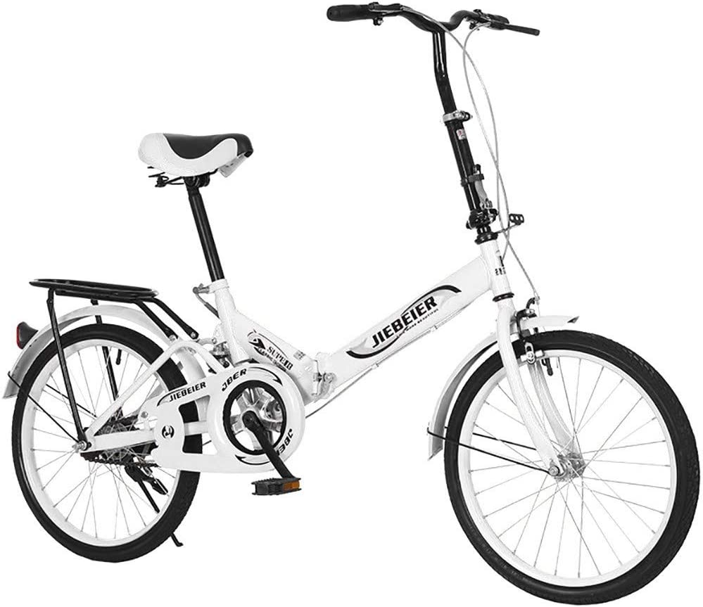 20 Folding City Bike with Height-Adjustable seat 20-inch Ultra-Light Portable Womens City Mountain Cycling Fast Delivery from The U.S. Adult Folding Bike White