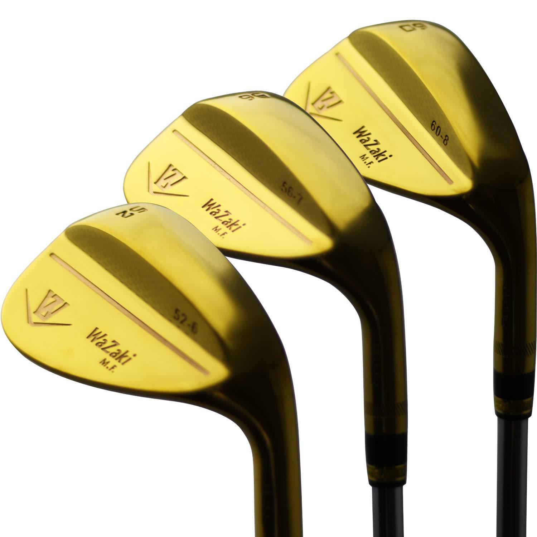 Japan Wazaki 14K Gold Finish M2 Forged Soft Iron USGA PGA Rules of Golf Club Wedge Set(52,56,60 Degree,Pack of Three) by wazaki
