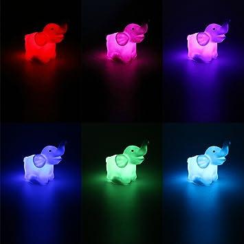 Amazon.com: Cute Animal Elefante lámpara de luz LED de Noche ...
