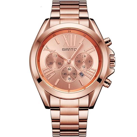 Kinlene Reloj de cuarzo para hombre, Cuarzo, Números Romanos, Casual Moda Analógico reloj (Oro rosa): Amazon.es: Relojes