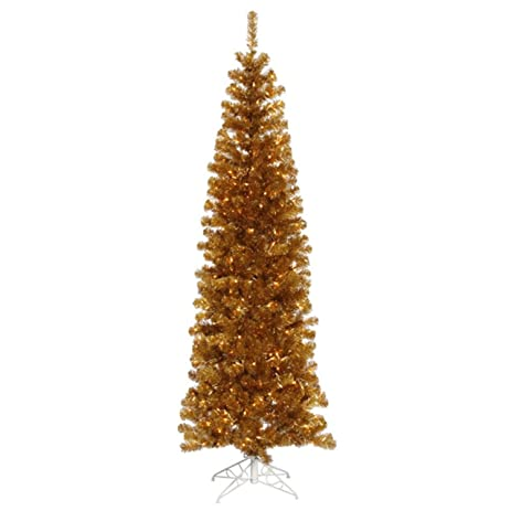9 pre lit antique gold artificial pencil tinsel christmas tree clear lights