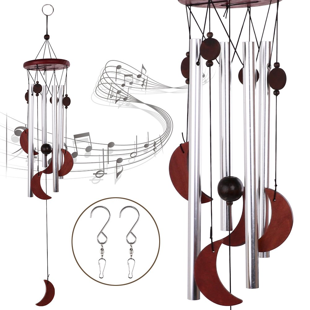 HankRobot Wind Chime 4 Aluminium Tube 5 Wooden Moon Music Chime Indoor and Outdoor Pure Handmade Chimes with 2 S Hooks for Home and Garden(27inch Long)