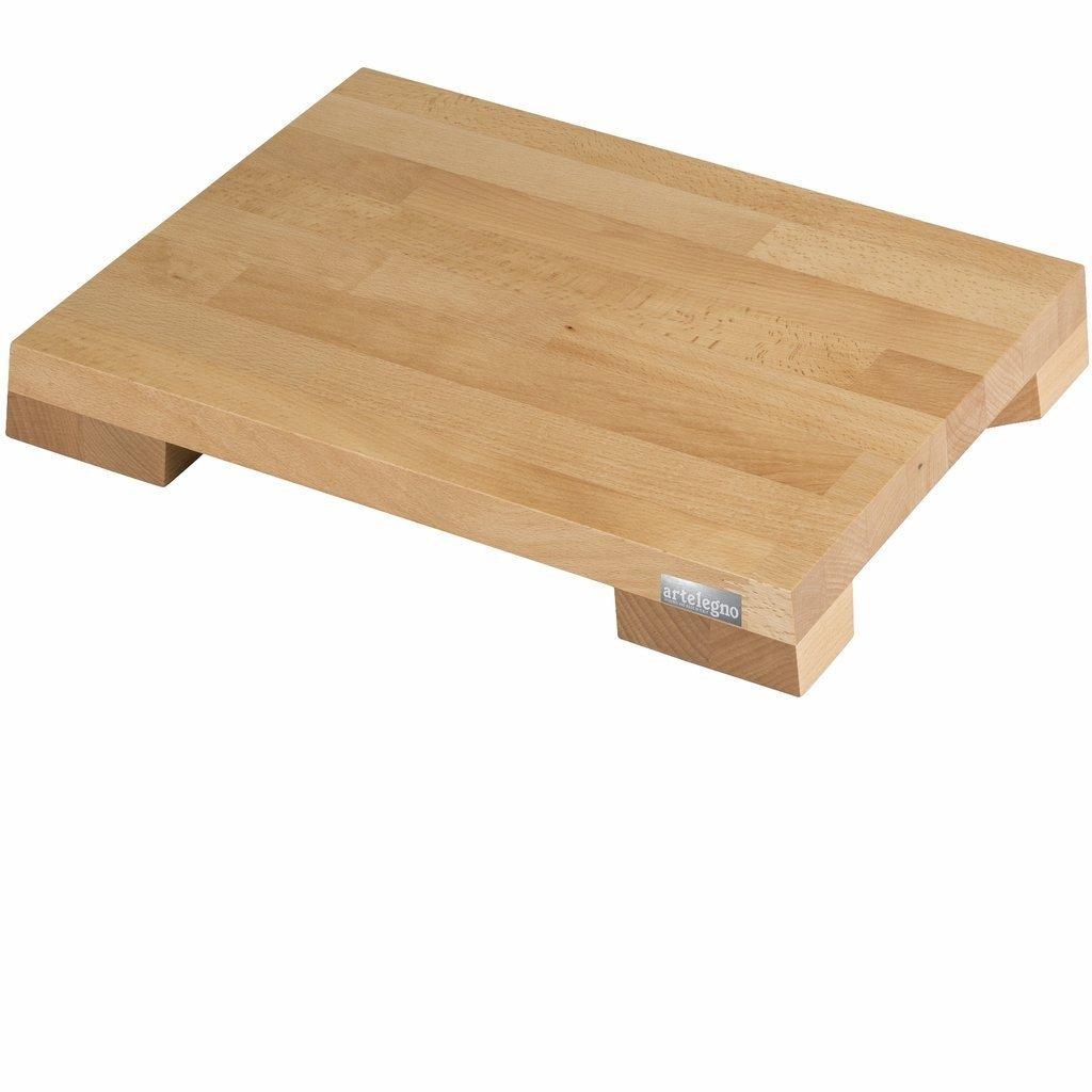 Artelegno Schneidebrett aus massivem Buchenholz mit Platteneinsätzen, luxuriöse italienische Siena-Kollektion von Master Craftsmen, umweltfreundlich, natürliches Finish, groß